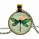 Collar de libélula vintage, chapado en bronce, colgante de libélula, colgante, accesorios, hecho a mano, joyería de cristal, joyería para mujeres o hombres
