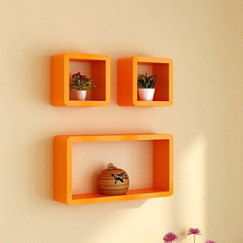 Étagères murales flottant mural treillis salon TV Backdrop Cabinet (Couleur : Orange)
