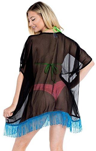 La Leela 2 in 1 donne leggeri chiffon beachwear top pianura tunica kimono partito scrollata cardigan vestito corto mantello costume da bagno casuale stile boho signore coulisse copertura pura up Nero