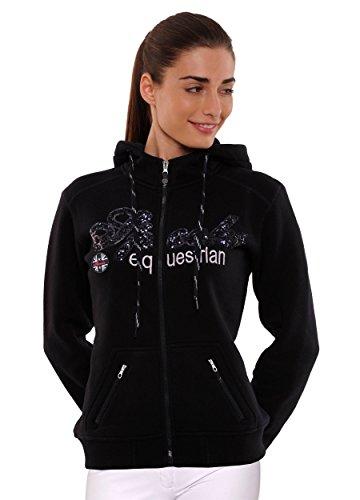 SPOOKS Damen Sweatjacke, Kapuzen-Jacke Mädchen Kinder Frauen, Zipper Hoodie - Sommerjacke Bequem & anschmiegsam, Roxy Sequin Jacket - Navy XL