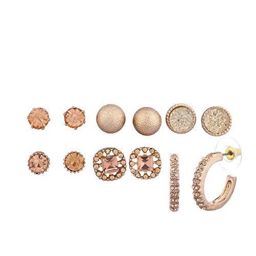 LUX Zubehör Rose Gold Ohrstecker und Creolen Multi Ohrring Pack Set (Der Kostüme Natur Elemente)