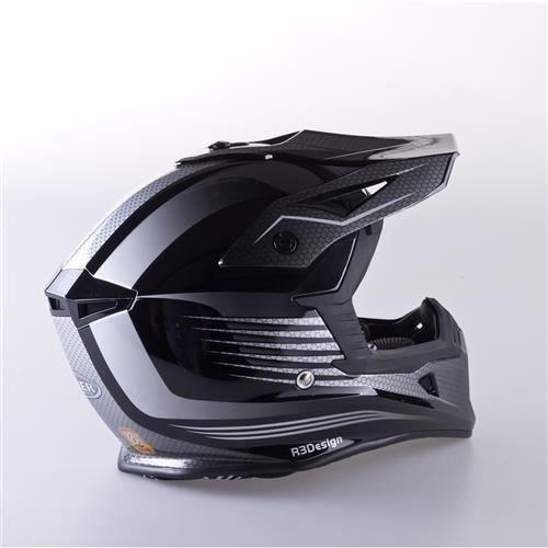 Viper RS-X95RAZR CARBON Casco Motocross Enduro MX Quad ATV Off Road Nero, Black, XS