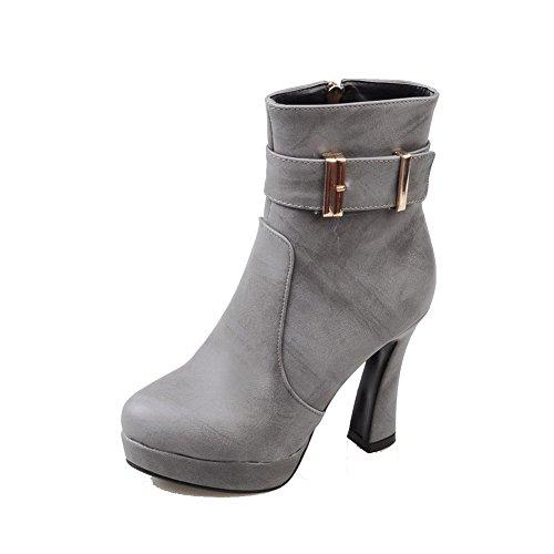 AgooLar Damen Mittler Absatz PU Rein Quadratisch Zehe Stiefel, Grau, 33