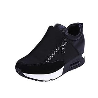 Sneakers Damen, Sunday Turnschuhe Freizeitschuhe Frauen Fashion Sport Laufen Wandern Dicke Boden Outdoor Reißverschluss Plateauschuhe (Schwarz, 38 EU)