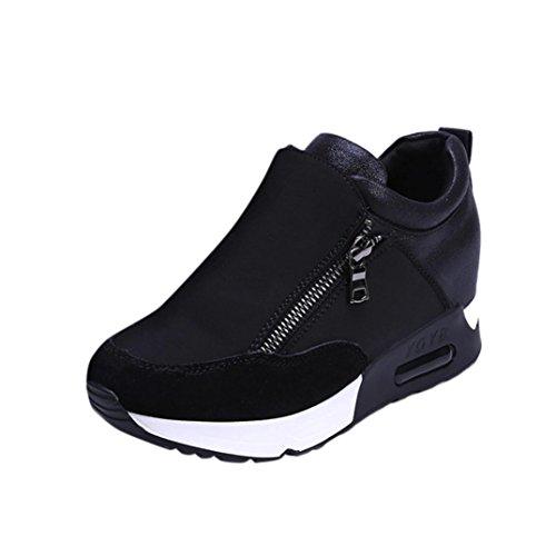 Sneakers Damen, Sunday Turnschuhe Freizeitschuhe Frauen Fashion Sport Laufen Wandern Dicke Boden Outdoor Reißverschluss Plateauschuhe (Schwarz, 40 EU)
