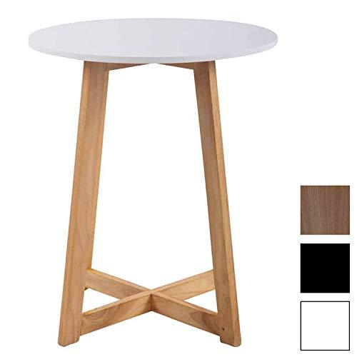 CLP Tavolino Cucina Piccolo Soro in MDF e Legno di Faggio – Tavolino Tondo Stile Scandinavo con Base a Croce con Antiscivolo, Ø 60 cm, H 72 cm Bianco