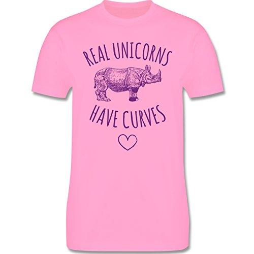 Statement Shirts - Real unicorns have curves - Herren Premium T-Shirt Rosa