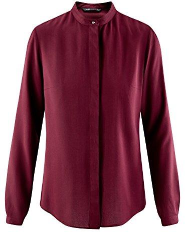 oodji Collection Damen Viskose-Bluse mit Stehkragen Rot (4900N)