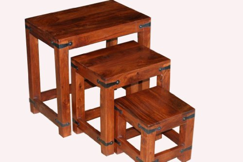 Homescapes Nest of 3 Tables Solid Sheesham Dark Wood Jali Indian Furniture (No Veneer)