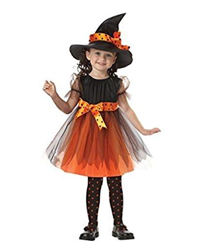 Kosplay Mädchen Kinder Hexe Kostüm Zubehör Fairy Halloween Cosplay Partei Abendkleid Halloween Kostüm Schwarz Orange (3-11 Jahre Alt)