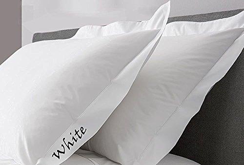 Comfort Beddings Kissenbezüge, schwere Qualität, Fadenzahl 400, 100% ägyptische Baumwolle, Oxford, Weiß, 2 Stück, Baumwolle, weiß, Standard (50cm x 75cm) -