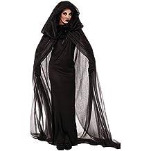 Sorcière Halloween Costume Deguisement -- LATH.PIN Sorcière Robe Noir Anime Cape Jupe Longue Costume Vampire Cosplay pour Noël Halloween Party