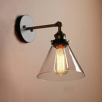 Buyee Vintage Loft à Abat-jour en verre Coffee Bar Lampe Applique murale rétro avec accessoires