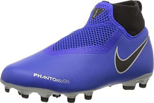 NIKE Jr Obra 3 Academy DF MG, Chaussures de Football Mixte Enfant, Bleu Racer Blue/Black Volt/MTLC Silver 400, 37.5 EU