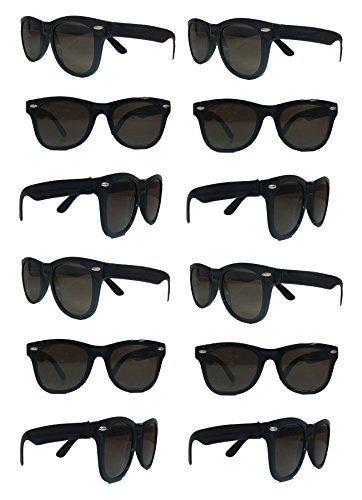 TheGag Schwarze Sonnenbrille im Großhandel, Party-Packung - 12 Retro Wayfarer Risky Business-Blues Brothers Schwarz Sonnenbrille für Abschlussfeier, Karneval, Feiertage, Brautparty, Erwachsene, Kinder
