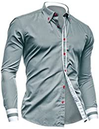 Hommes Manches Longues Point Col Bouton Closed Chemise