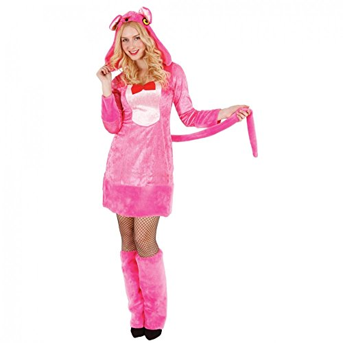 Pink Panther Damen Kostüm (Kostüm Panther Gr. S- XL Kleid rosa Fußstulpen Tierkostüm pink Karneval)