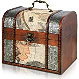 Pirate Treasure Chest Storage Box By Thunderdog - Durable Wood & Metal Construction - Unique, Handmade Vintage Design With A Front Lock - 21x18x19cm Size - Striking Decorative Element - The Best Gift