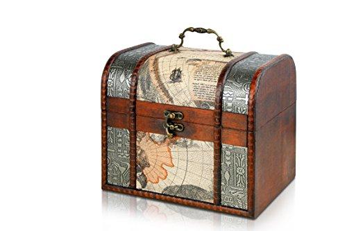 Caja de madera de Thunderdog | Cofre del tesoro pirata de estilo vinta