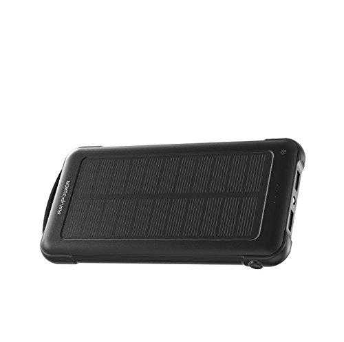 RAVPower Caricabatterie Solare 10000mAh Batteria Esterna con iSmart 2.0, 2 Ingressi(Solare e Presa) a Prova di Urto con Luce LED per iPhone Galaxy Android ECC