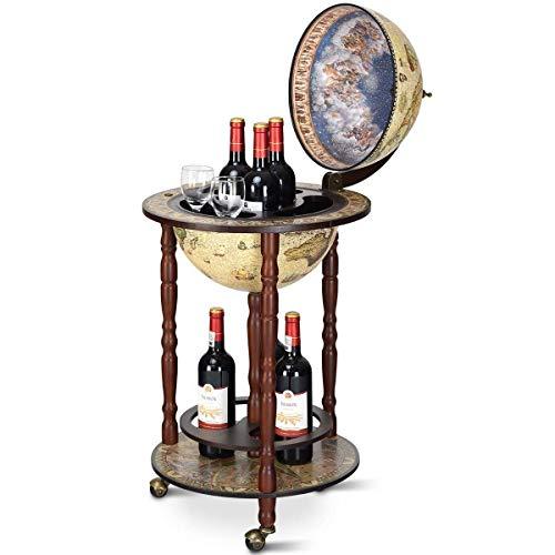 Costway Mappamondo Bar con Ruote Mobili Porta Liquori con Stile retrò/Vintage 88 x 45 x 45