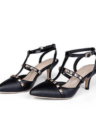 UWSZZ IL Sandali eleganti comfort Scarpe Donna-Sandali-Formale-A punta-A stiletto-Finta pelle-Nero / Rosa / Bianco Black