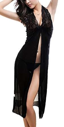 RZS Donna Lace lingerie Esotico Pizzo Capestro Nero Abito Pigiama [Grande Size] [2 pezzi] Fionda Chemise Con G-String(IT 36, Nero)