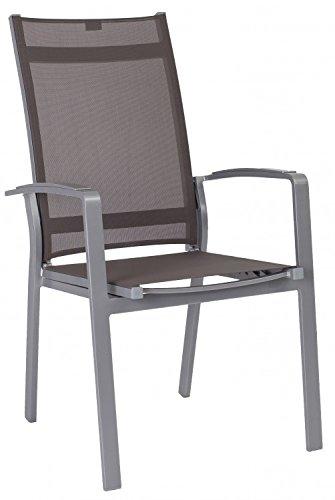 Stern Stapelsessel Olivo Aluminium graphit mit Textilenbezug taupe und Alu-Armlehnen, Rückenlehne verstellbar