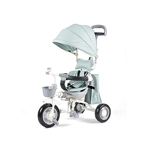 Sunzy Baby hand push tricycle, lightweight folding portable children's tricycle, suitable for children aged 1-4  The entire frame is painted with a paint to effectively prevent the frame from colliding and rusting. High-performance space wheel, SUV-level shock protection, suitable for all kinds of road surfaces, no inflation, no deformation. Linen awning, effectively blocking UV, breathable sunshade 1