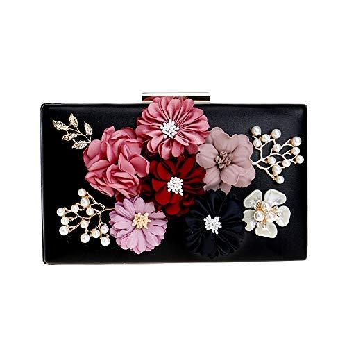 Allibuy Prom Handtasche, Frauen Blume Kupplungen Abendtaschen Handtaschen Hochzeit Kupplung Geldbörse, für Damen Damen (Farbe : Schwarz)