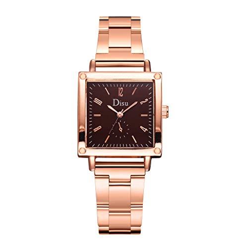 LILIGOD Damen Quarzuhr Armbanduhr Quadratisches Zifferblatt Uhren Einfache Stilvolle Armbanduhren Quadratischen Zifferblatt Legierung Armband Frauen Mode Legierung Uhren
