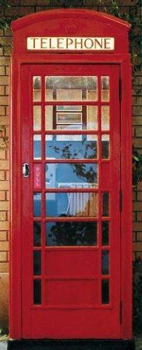 1art1 40578 Großbritannien - Rote Telefonzelle Fototapete Poster-Tapete (200 x 86 cm) - Telefonzelle Telefon