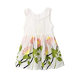 Covermason Floral Printed Sleeveless Tutu Dresses For Toddler Kids Baby Girls Princess Party Pageant Vacation