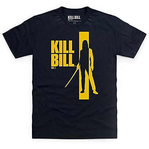 Official Kill Bill Vol 1 Yellow Logo T-Shirt, Herren, Schwarz, L (Herren Volles Logo T-shirt)