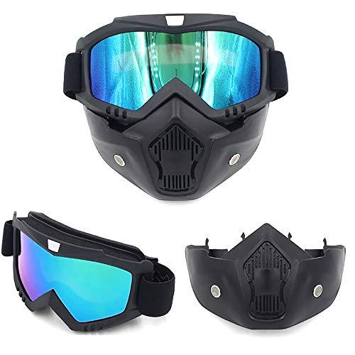 Yiph-Sunglass Sonnenbrillen Mode Retro Harley Mask Goggles Motocross Racing Goggles Riding Cool Helm Ritter Brillen für Männer und Frauen (Color : Schwarz, Size : One Size)