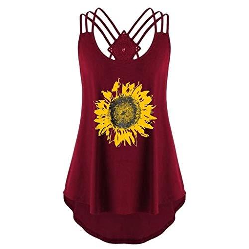 VECOLE Damenbekleidung Sunflower Print Ärmelloses, lässiges Crossover-Tanktop Spaghetti-Top Bequem und selbstkultivierend Leibchen Oben(Wein,M) - Basic Shelf Bra Camisole
