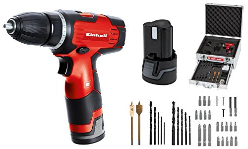 Einhell TH-CD 12-2 Li Set ,Taladro Atornillador sin Cable (TH-CD 12-2 Li, batería de 1.3 Ah, 24 Nm, 10 mm, 12 V),  Negro y Rojo (ref. 4513664)
