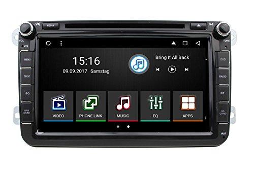 """8"""" Android 2DIN Multimedia-Navigations-SpezialradioAutoradio für Volkswagen VW / SKODA / SEAT + Moniceiver / Naviceiver mit GPS Navigation + NAVI Software inkl. Europa Karten (49 Länder) + Bluetooth Freisprechfunktion + 20 cm / 8 Zoll Touchscreen Display + Micro-SD-Kartenslot + USB Anschluss mit Verlängerungskabel + CAN-BUS + Dual Zone Betrieb + Anschlüsse für Rückfahrkamera, + Doppel DIN / 2 DIN Standard Einbaugröße inkl. GPS Antenne"""