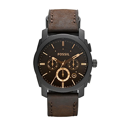 Fossil Herren Chronograph Quarz Uhr mit Leder Armband FS4656 - Band 22mm Watch Metall