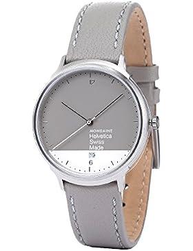 Mondaine Damen-Armbanduhr HELVETICA NO1 LIGHT GRAPHIC EDITION Analog Quarz Leder MH1.L2280.LH