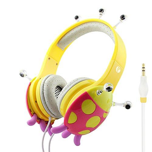 Vcom, de802, cuffie con filo e limitazione volume automaticamente, cavo audio da 3,5mm per smartphone tablet pc musica, giallo