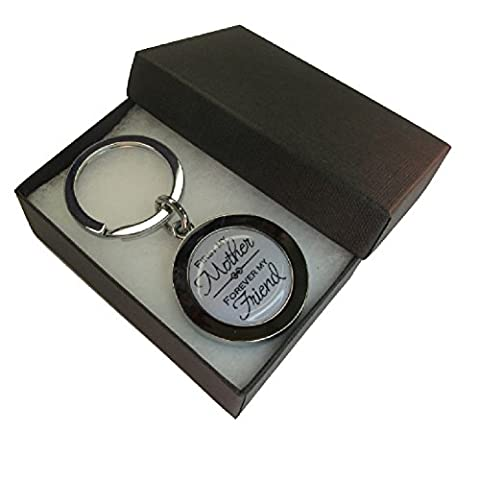 Handmade Silver Plated - Mum Inspired Keyring - First My Mother Forever My Friend Boxed Gift