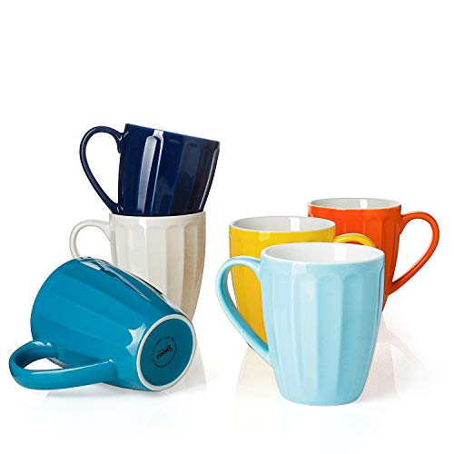 Sweese 6209 Geriffelt Kaffeebecher Kaffeetassen 6er Set aus Porzellan, 400ml, Tasse mit großem...