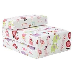 Ready Steady Bed Futon Fauteuil Children's Bed Chauffeuse pliable Motif animaux de lit pliant matelas