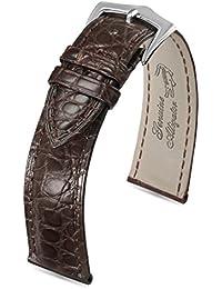 dark alligator véritable cuir bracelets de montres de remplacement de luxe brun fraîche exotique grain lézard 20mm hommes légèrement rembourrée