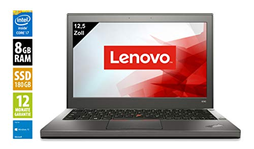 Lenovo ThinkPad X240 | Notebook / Laptop | 12,5 Zoll (1366x768) | Intel Core i7-4600U @ 2,1 GHz | 8GB DDR3 RAM | 180GB SSD | Windows 10 Home (Zertifiziert und Generalüberholt) -