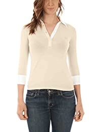 Fred perry polo con las mangas 3/4 mujer beige