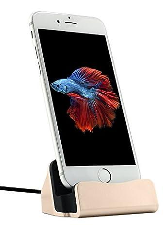MyGadget Dockingstation Ladestation fürs iPhone (inkl. 1m Kabel) Dock Ladegerät für Apple Smartphone X,8, 7, 7 Plus, 6s, 6s Plus, 6, 5, 5s, 5c, SE, iPod nano 7, 5G in Gold