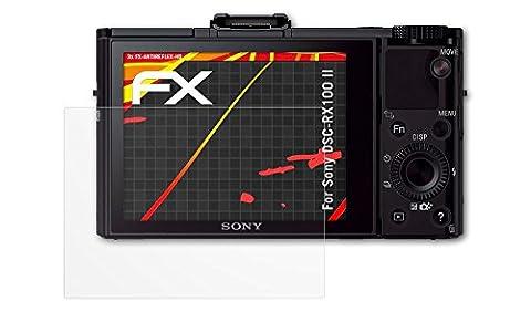 Sony DSC-RX100 II Displayschutzfolie - 3 x atFoliX FX-Antireflex-HD hochauflösende entspiegelnde Schutzfolie Folie