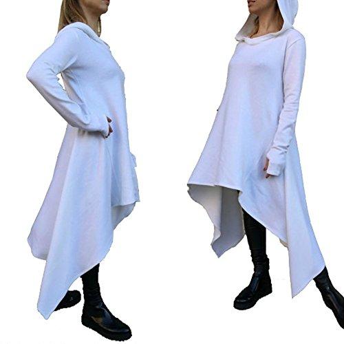 Minetom Damen Hoodies Pullover Unregelmäßige Strick Hoodies Oversize Langarm Pullikleid Longshirt Top Minikleid Weiß